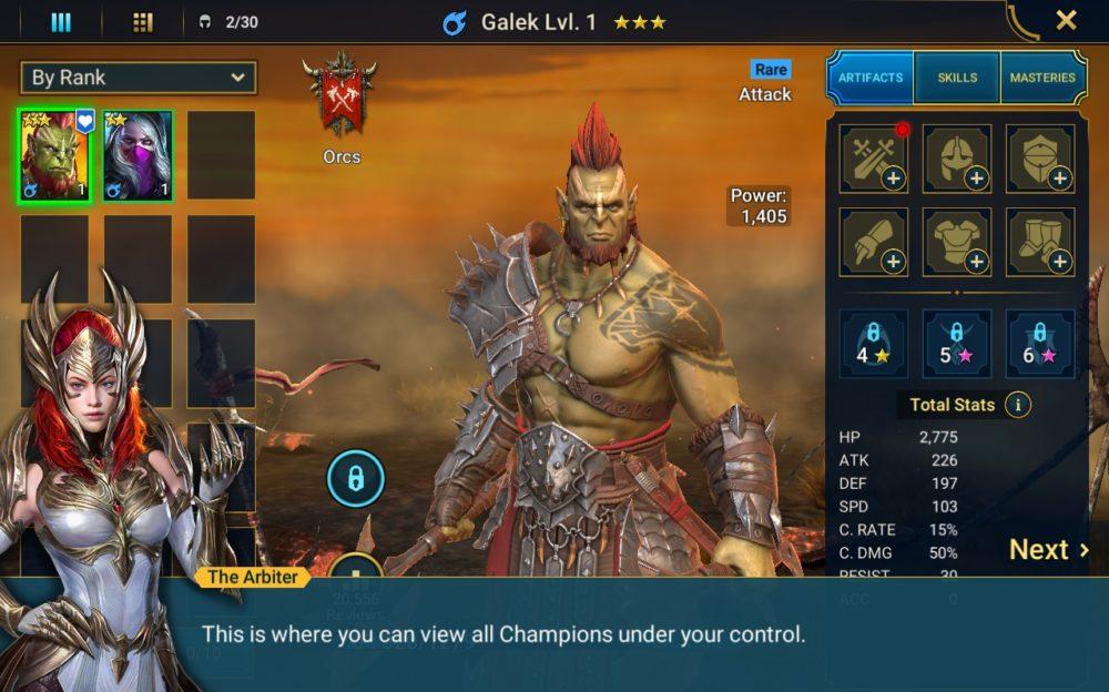 postać głównego bohatera w Raid: Shadow Legends